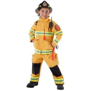 Firefighter costume with axe and hat